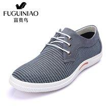 富贵鸟(FUGUINIAO)富贵鸟男鞋新款透气网布鞋男系带网面鞋潮时尚休闲鞋子 E654618E