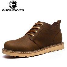 古奇天伦2018新款马丁鞋男鞋工装鞋短靴皮靴高帮男鞋 GH805
