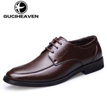 古奇天伦男鞋2017新款男士商务正装皮鞋单鞋系带爸爸鞋 6816