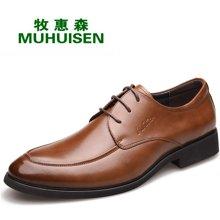 牧惠森新品男士头层牛皮系带皮鞋商务正装休闲百搭男鞋 H8283