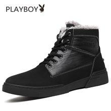 花花公子高帮板鞋男冬季加绒运动休闲鞋韩版男士保暖棉鞋真皮鞋子W39761