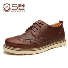 马登新款加绒保暖男士鞋子休闲鞋男鞋男英伦布洛克雕花男鞋潮鞋韩版男 1507060