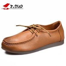 Z.Suo/走索女鞋单鞋女女士休闲鞋女低帮鞋系带英伦皮鞋女潮 ZS18005N