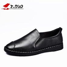 Z.Suo/走索女鞋乐福鞋女春夏季女士休闲鞋学院套脚英伦休闲皮鞋 ZS18006N