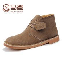 马登男士马丁靴英伦短靴男沙漠靴休闲皮靴子男靴韩版潮流男鞋潮鞋 1407024