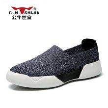 公牛世家男鞋夏季网鞋透气休闲鞋韩版网面鞋男士懒人鞋乐福潮鞋子 888424