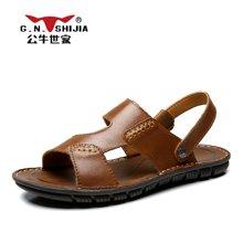 公牛世家男鞋夏季新款凉鞋防滑软底沙滩鞋男士休闲两穿凉拖鞋 888412