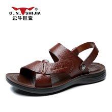 公牛世家男鞋夏季新款凉鞋防滑沙滩鞋休闲男士露趾两用凉拖鞋 888396