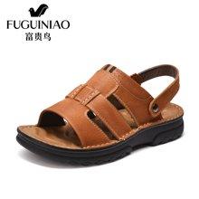 富贵鸟(FUGUINIAO)凉鞋17年夏款头层牛皮舒适灵活两用后跟带男鞋沙滩鞋 C794002
