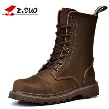 Z.Suo/走索鞋子新款马丁靴女秋冬英伦风复古女靴中筒机车靴子潮 ZS6818