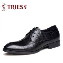 才子/TRIES新款男士皮鞋男鞋鞋子休闲鞋商务鞋头层牛皮系带商务鞋休闲鞋CSH30C1686