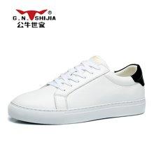 公牛世家新款男皮鞋运动休闲鞋男士小白鞋潮鞋透气板鞋男鞋子 888309