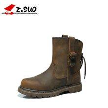 Z.Suo/走索经典情侣靴秋冬英伦骑士靴男女中筒靴个性女靴时尚潮流女鞋 ZS992N