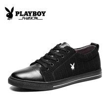 花花公子秋季男鞋透气百搭男士休闲鞋韩版潮流黑色板鞋青年帆布鞋CX39320