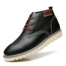 公牛世家男鞋冬季皮靴马丁靴高帮休闲鞋短靴加绒英伦圆头工装靴子 888245