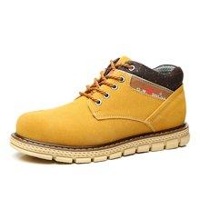 公牛世家冬季男鞋大头工装鞋运动休闲皮鞋加绒保暖板鞋高帮鞋男士潮鞋 888226