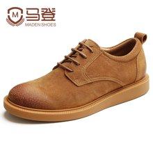 马登鞋子英伦男士休闲鞋韩版潮流增高休闲皮鞋复古男鞋软面皮鞋 1703010