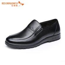 红蜻蜓男鞋 男士商务休闲圆头套脚皮鞋子单鞋5030