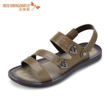 红蜻蜓男凉鞋 夏款时尚复古休闲透气沙滩凉皮鞋5762