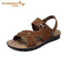 红蜻蜓男凉鞋 夏款日常休闲透气男士沙滩皮凉鞋5907