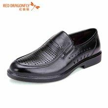 红蜻蜓男凉鞋 夏款正品休闲透气套脚镂空皮鞋5861