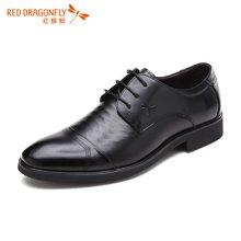 红蜻蜓男鞋 正品时尚系带单鞋男士正装皮鞋 6130