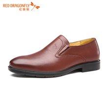 红蜻蜓男鞋 正品套脚男士单鞋商务休闲皮鞋 6074