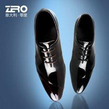 零度尚品皮鞋尖头英伦风商务正装鞋系带潮男鞋男士婚鞋头层皮93057