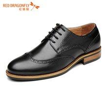 红蜻蜓男鞋  正装男单鞋布洛克雕花皮鞋 6177