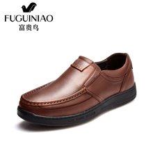 富贵鸟(FUGUINIAO)富贵鸟男鞋头层牛皮男士休闲鞋软底皮鞋男 A687546-1