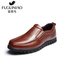富贵鸟(FUGUINIAO)富贵鸟皮鞋男商务休闲鞋子套脚鞋软底休闲皮鞋 A697535