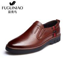 富贵鸟(FUGUINIAO)时尚头层牛皮男士便捷套脚商务休闲皮鞋金属装饰男鞋圆头皮鞋 A697156