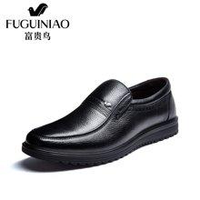 富贵鸟(FUGUINIAO)富贵鸟皮鞋男鞋加绒保暖棉鞋男士商务休闲皮鞋爸爸鞋 A606775