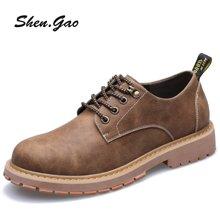 圣高新款男士工装鞋牛筋底系带男鞋复古英伦风时尚皮鞋低帮大头鞋 3766
