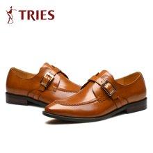 才子/TRIES新款男士皮鞋男鞋鞋子休闲鞋商务鞋英伦尖头潮鞋套脚漆皮男鞋H72C6102