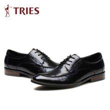 才子/TRIES新款男士皮鞋男鞋鞋子休闲鞋商务鞋英伦男士牛皮系带鞋子 H75C3002