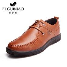 富贵鸟(FUGUINIAO)2016新品 时尚头层牛皮男士系带商务休闲鞋男皮鞋男鞋子 S606595