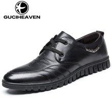 古奇天伦2017新款休闲鞋子英伦潮鞋头层牛皮男士商务皮鞋GH3380