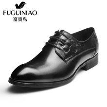 富贵鸟(FUGUINIAO)富贵鸟皮鞋 2016新款尖头商务正装皮鞋男士系带英伦复古男鞋 T606600