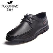 富贵鸟(FUGUINIAO)男鞋 2016新款商务休闲皮鞋 男士系带休闲鞋低帮鞋 S687669
