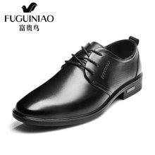富贵鸟(FUGUINIAO)头层牛皮英伦尖头系带商务正装皮鞋男鞋子 T606583