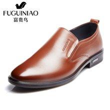 富贵鸟(FUGUINIAO)2016年新品 时尚英伦商务正装鞋男士套脚皮鞋 男鞋子 T606582