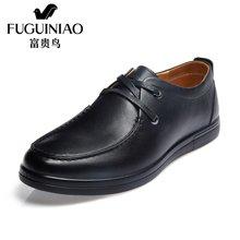富贵鸟(FUGUINIAO)头层牛皮圆头平底男士皮鞋单鞋系带商务休闲鞋 S606579