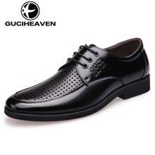 古奇天伦夏季男士商务正装皮鞋头层牛皮系带透气冲孔牛皮鞋 5356
