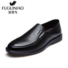 富贵鸟(FUGUINIAO)夏季新款 时尚男士透气商务休闲鞋镂空套脚男鞋皮鞋 E690086