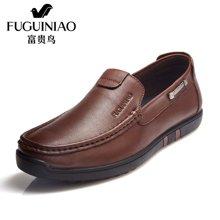 富贵鸟(FUGUINIAO)富贵鸟头层牛皮男士套脚商务休闲鞋皮鞋男鞋子 S687122