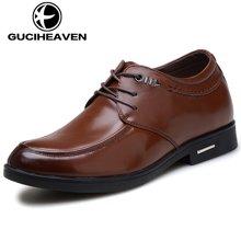 古奇天伦男鞋秋季增高鞋男士内增高皮鞋头层牛皮商务正装鞋AY817