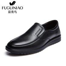 富贵鸟(FUGUINIAO)时尚头层牛皮男士套脚休闲商务鞋 男皮鞋 A606720