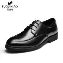 富贵鸟(FUGUINIAO)秋季新款 头层牛皮尖头系带商务休闲皮鞋低帮男皮鞋 B689727