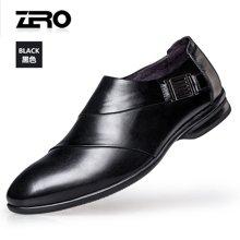 Zero零度尖头时尚皮鞋正装皮鞋男 2017春季新款职场男士男鞋套脚A71002